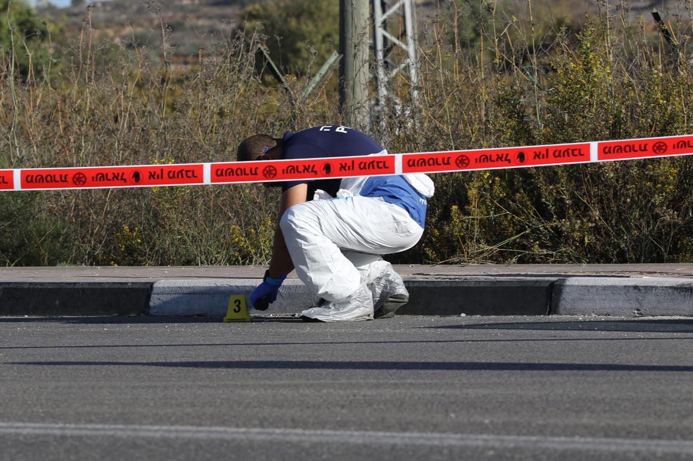זירת פיגוע בגוש עציון. צילום: יוסף מזרחי TPS