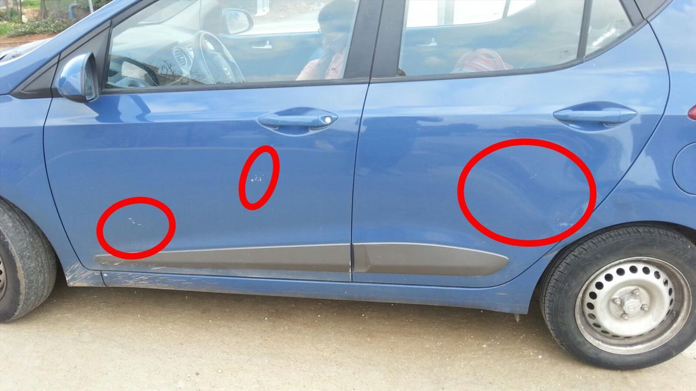 רכב שנפגע מאבנים באל מועייר