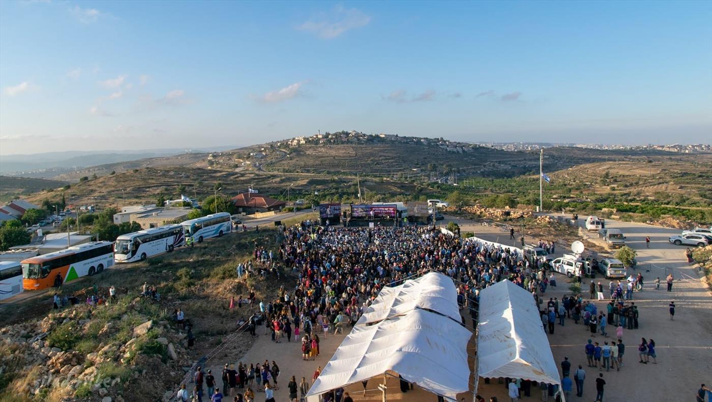 העצרת בנתיב האבות (צילום: גלעד פילבר/TPS)