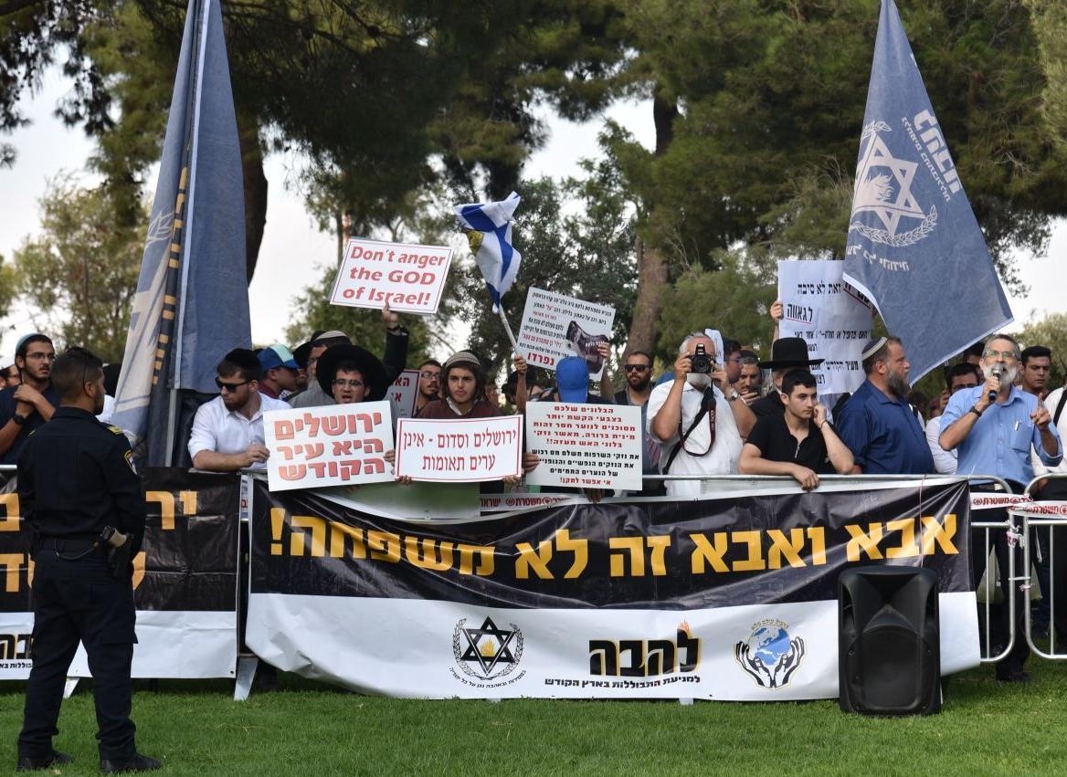 הפגנה נגד המצעד. ארכיון (צילום: יחיאל גורפיין/TPS)