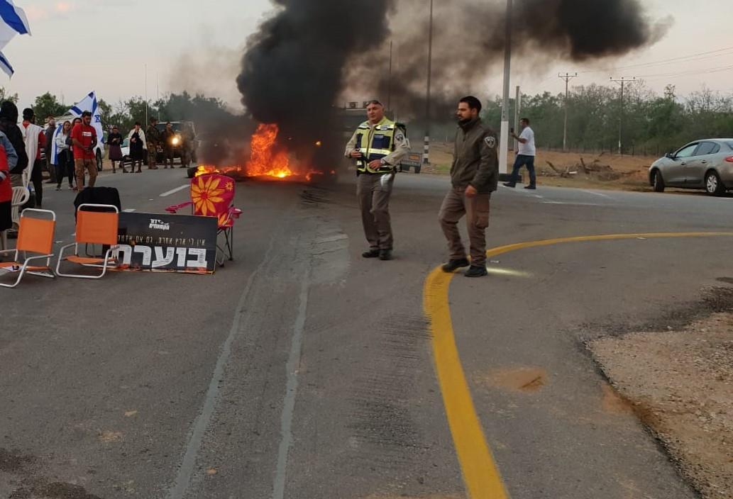 """ההפגנה הבוקר בכרם שלום. יח""""צ"""