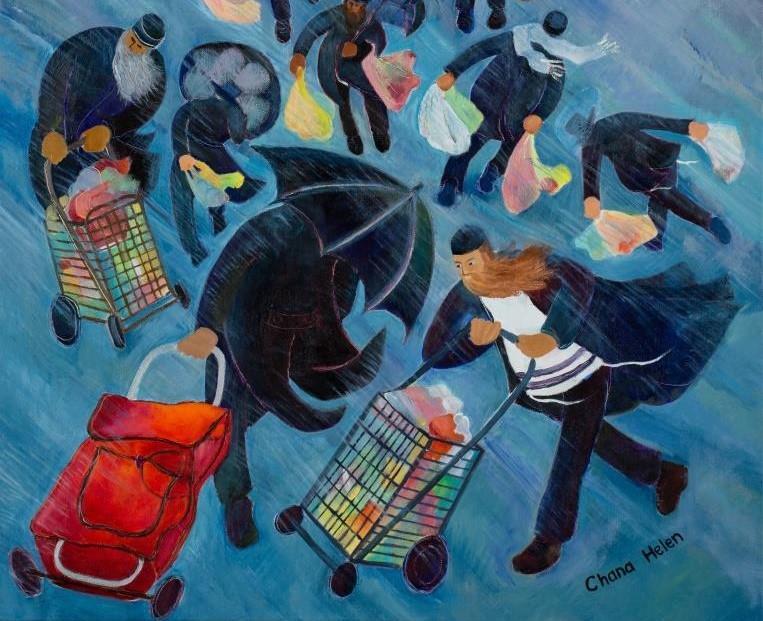 """גשם בירושלים. אחד מציוריה של רוזנברג  (יח""""צ)"""