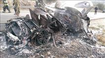 תיעוד: רכב נשרף כליל בשומרון