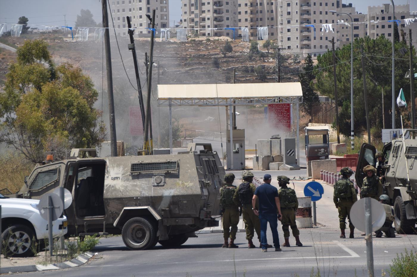 זירת פיגוע במחסום פוקוס. ארכיון (ענבל הראובני TPS)