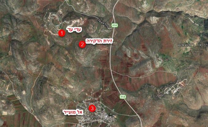 מפת האירועים (צילום מסך מפות גוגל)