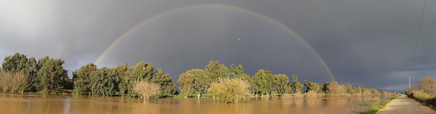 קשת בנהר הירדן המצף (גיא קולר רשות הכינרת)