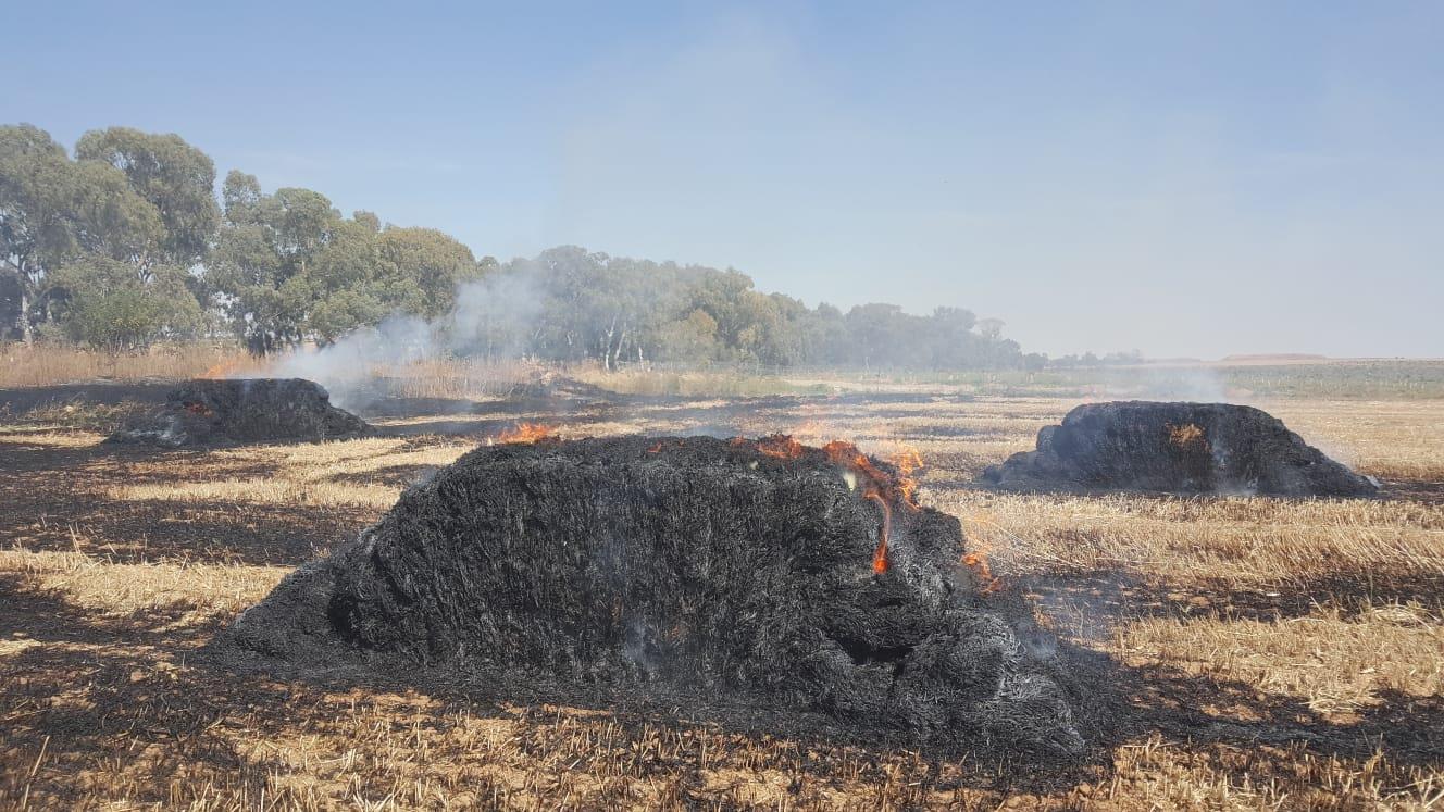 שריפה מבלוני תבערה בנחל עוז ביום שישי (ביטחון שער הנגב)