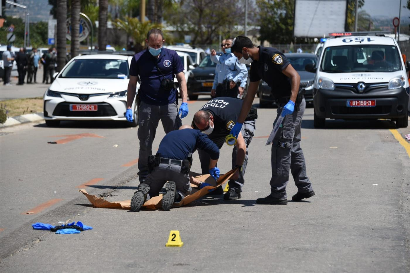 זירת הפיגוע בכפר סבא (משטרת ישראל)