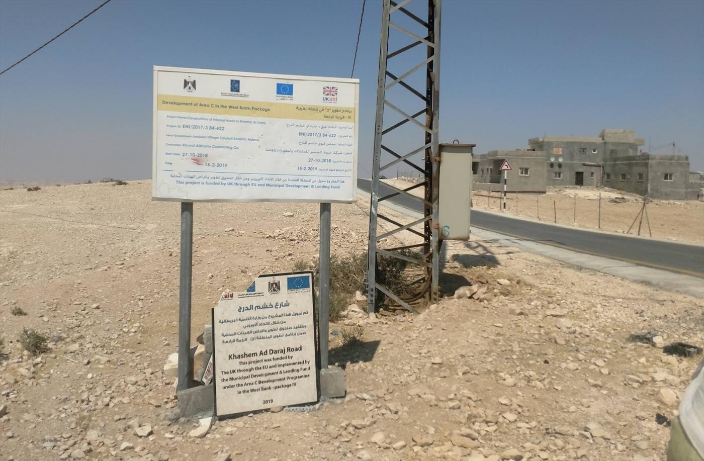 """שלטי חסות של האיחוד האירופי בבנייה בלתי חוקית בשטחי אימונים של צה""""ל (רגבים)"""