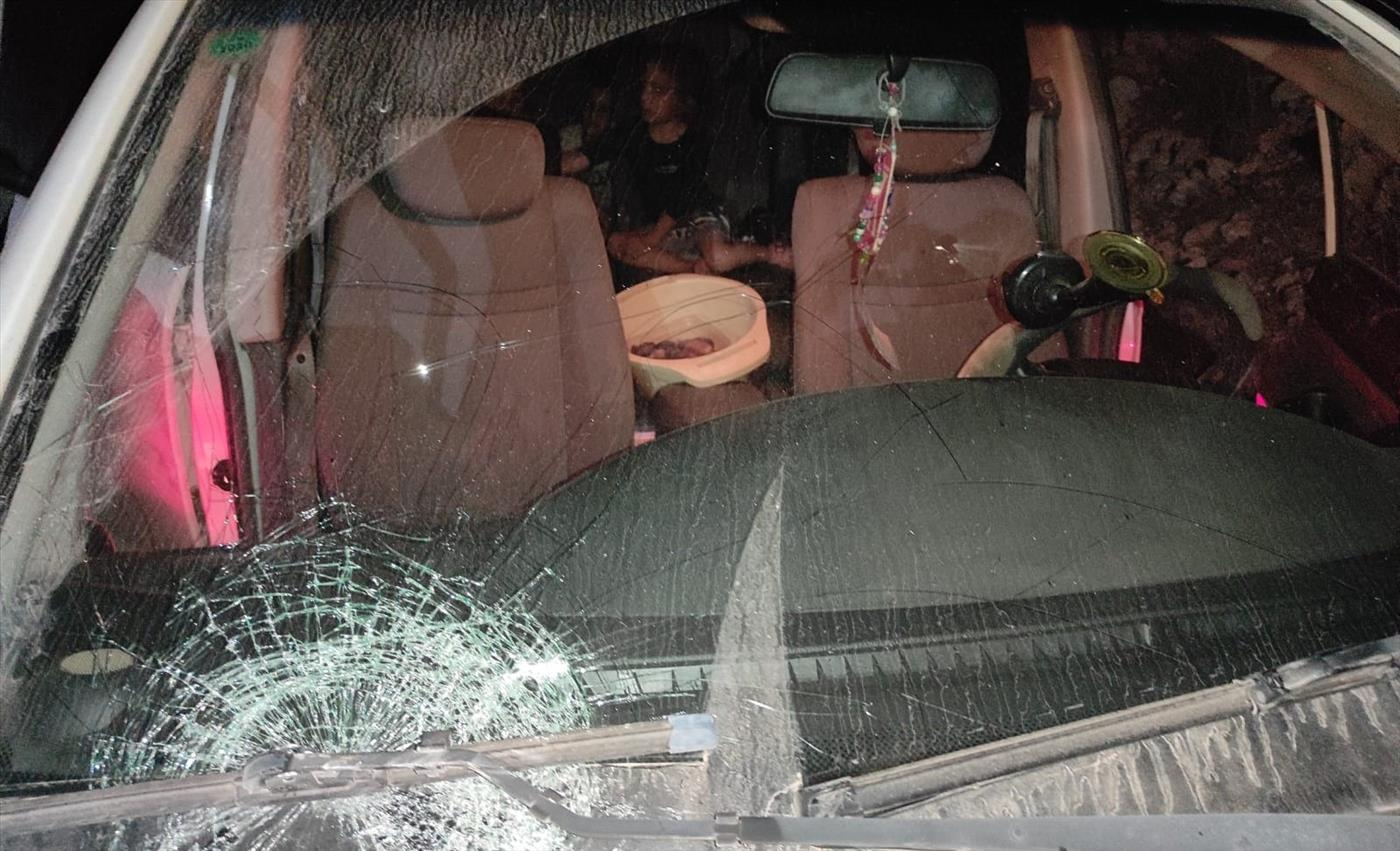 The family car that was smashed with rocks by Arab terrorists.