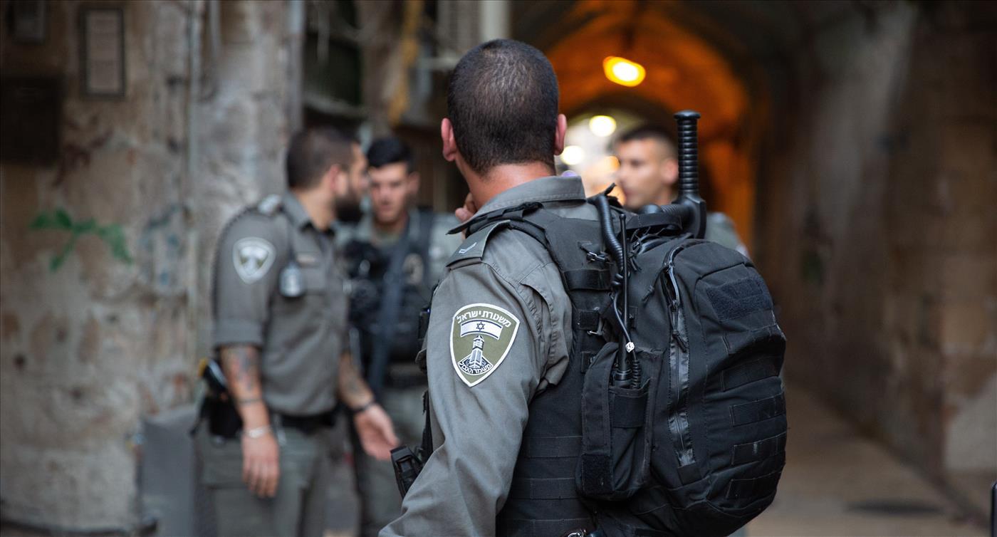 שוטרים בשער השלשלת, ארכיון (צילום: אסתי דזיובוב/TPS)