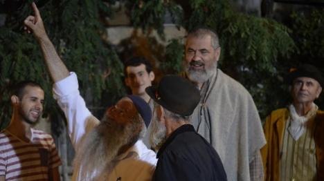 פישמן והשחקנים במהלך צילום הסרט