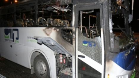 אוטובוס עלה באש כתוצאה מבקבוק תבערה
