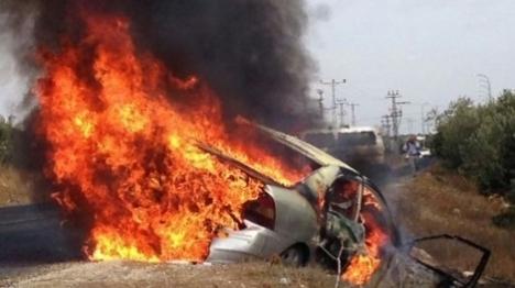רכב שבער מבקבוק תבערה בגוש עציון לפני מספר שנים. ארכיון צילום: מועצת גוש עציון