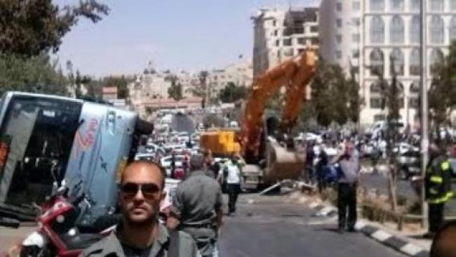 תיעוד: זירת פיגוע הטרקטור בירושלים